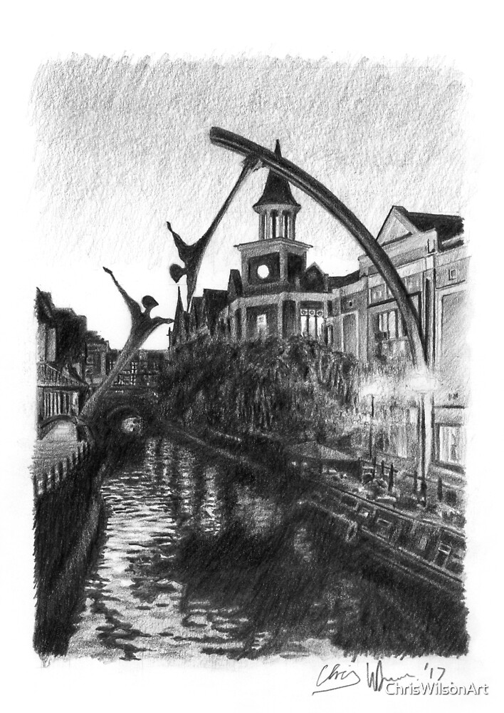 River Witham, Lincoln City centre. by ChrisWilsonArt