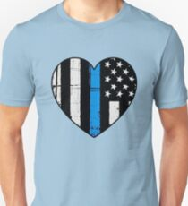 Thin Blue Line Heart: Support Police & Our LEOs T-Shirt