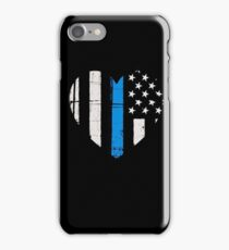 Thin Blue Line Heart: Support Police & Our LEOs iPhone Case/Skin