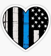 Thin Blue Line Heart: Support Police & Our LEOs Sticker