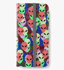 Colorful Alien faces, multi color UFO pattern iPhone Wallet/Case/Skin