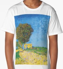 Avenue at Arles with houses - Vincent Van Gogh Long T-Shirt