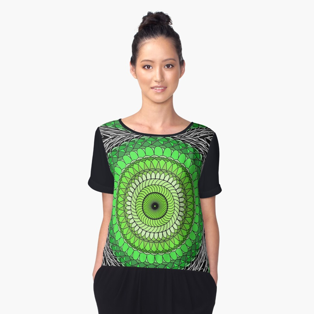 Green Abstract Women's Chiffon Top Front