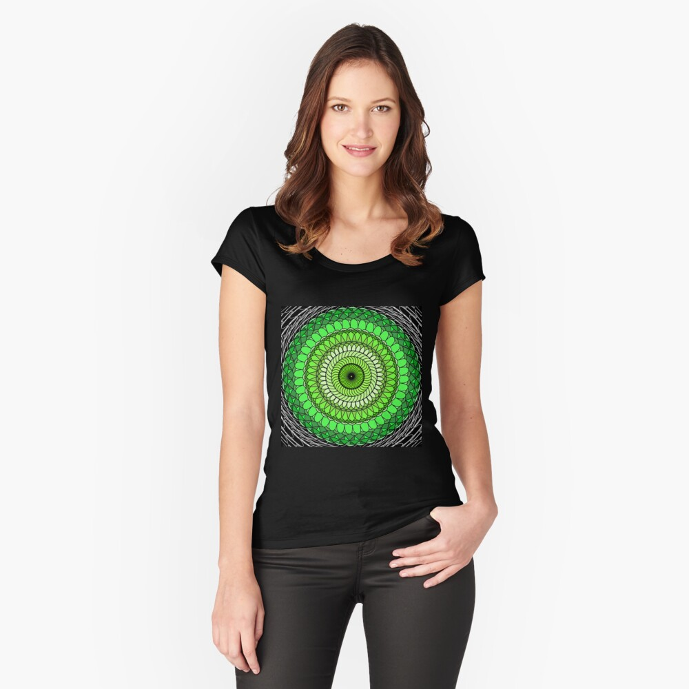 Green Abstract Women's Fitted Scoop T-Shirt Front