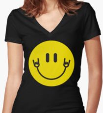 "Smiley Hands ""Rock It"" Women's Fitted V-Neck T-Shirt"