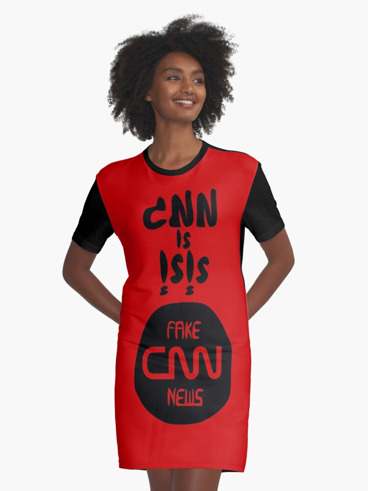 CNN is ISIS اسود و احمر Graphic T-Shirt Dress Front