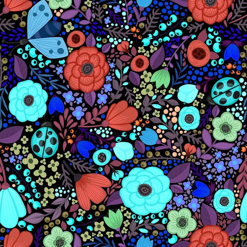 Garden Flowers on Black by roseglasses