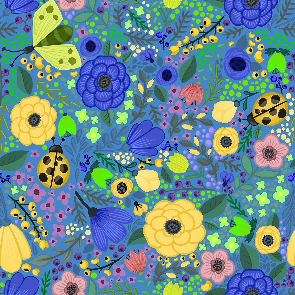 Garden Flowers on Blue by roseglasses
