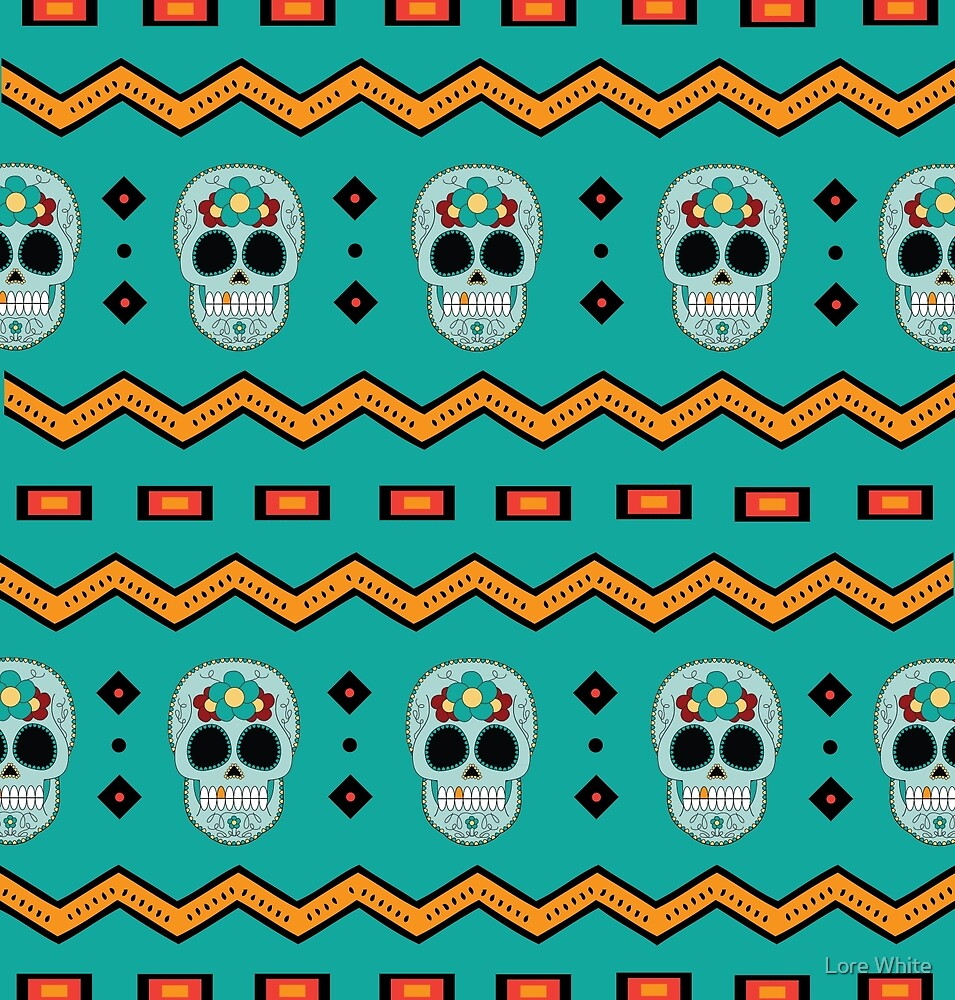 Mexican Pattern #2 Day of The Dead Skull by Lore White