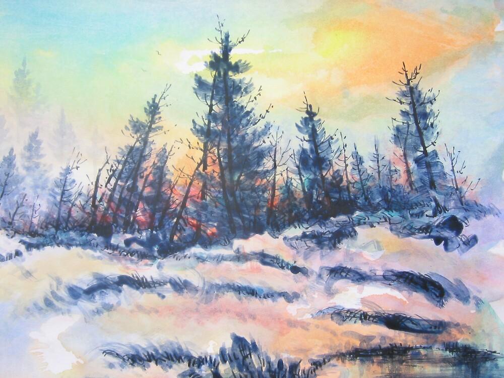 Pines orange and blue by Jorge Garcia Posas