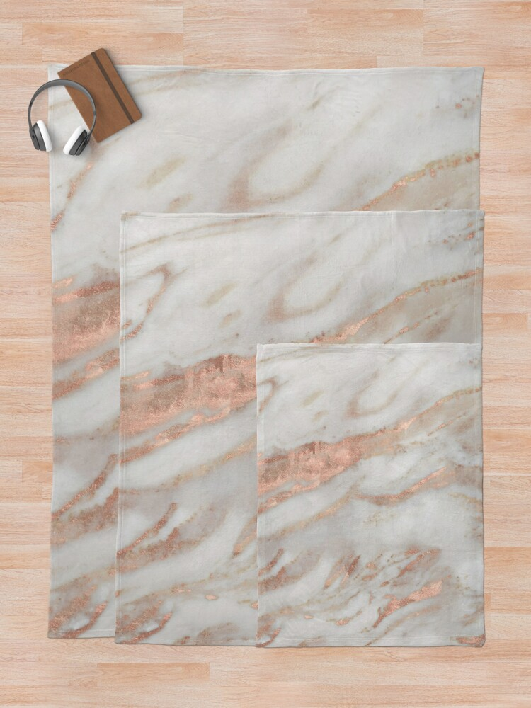 Alternate view of Civezza - rose gold marble Throw Blanket