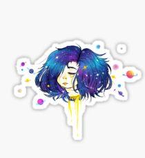 Gold Bleeding Space Head Sticker