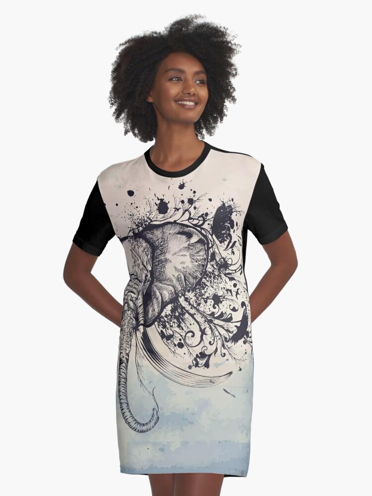 Flourishing Elephant Head Graphic T-Shirt Dress Front