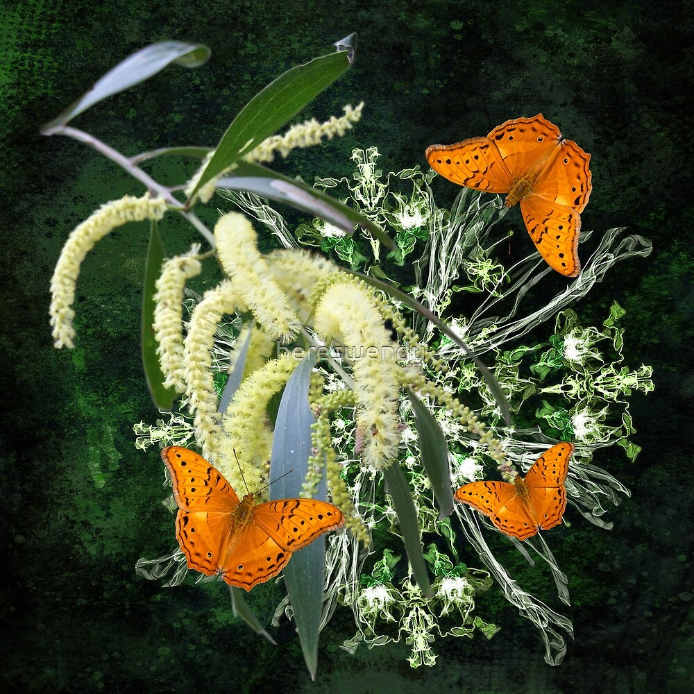 butterflies and wattle with green abstract bouquet by hereswendy