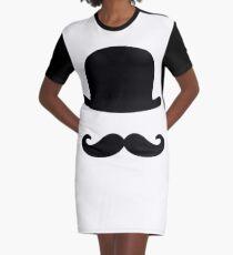 nostalgic, vintage, bowler, hat, moustache, funny Graphic T-Shirt Dress