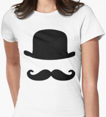 nostalgic, vintage, bowler, hat, moustache, funny Women's Fitted T-Shirt