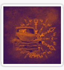 Abstract rusty car in purple and orange Sticker