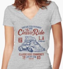 The Classic Ride - 1983 VW - Low And Slow Women's Fitted V-Neck T-Shirt