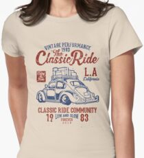 The Classic Ride - 1983 VW - Low And Slow Women's Fitted T-Shirt
