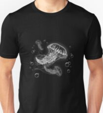 Jellyfish - White Lineart on Black Unisex T-Shirt