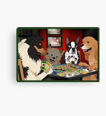 Dogs Playing Settlers of Catan Canvas Print