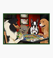 Dogs Playing Settlers of Catan Photographic Print