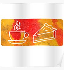 Coffee and Pie Pictogram Poster