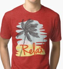 Relax! Retro 80s Vacation Style Tri-blend T-Shirt