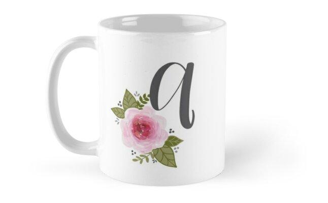 Floral Monogram a by ktscanvases