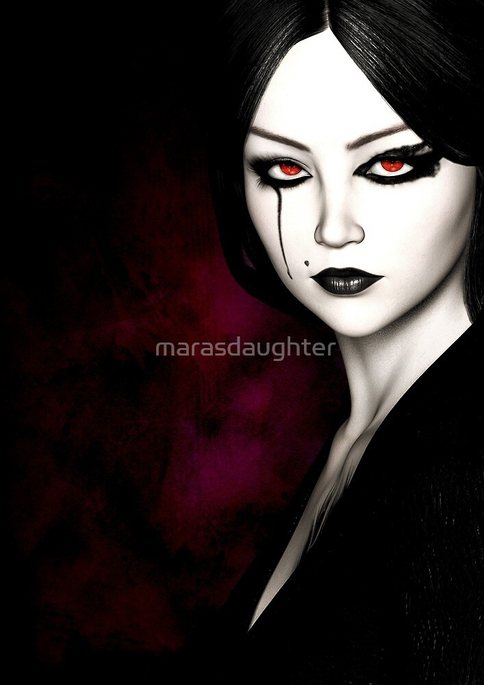 goth girl red eyes by marasdaughter
