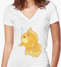 Happy Meteor Goldfish Women's Fitted V-Neck T-Shirt