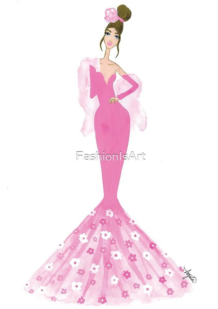 Elegant Pink Evening Gown Floral Fashion Illustration by FashionIsArt