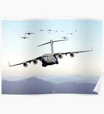 A formation of 17 C-17 Globemaster IIIs fly over the Blue Ridge Mountains. Poster
