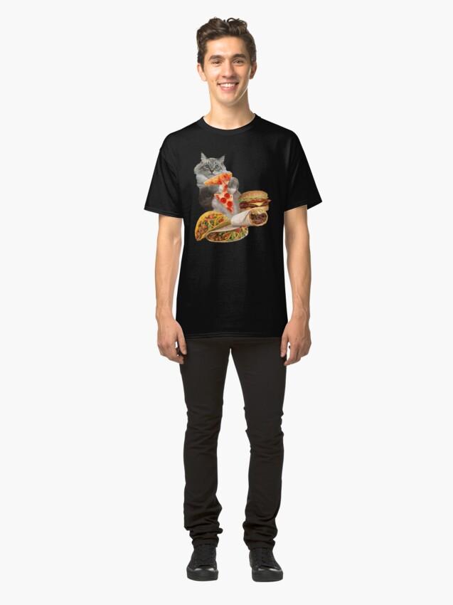 Alternate view of Pizza Taco Burger Cat Classic T-Shirt