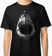 Shark Week Text Portrait Shirt Black and White Classic T-Shirt
