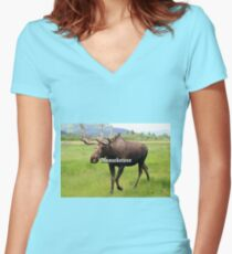 Mooseketeer: Alaskan moose Women's Fitted V-Neck T-Shirt