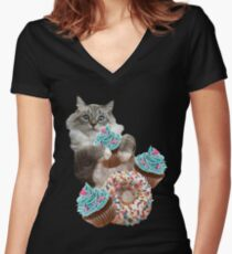 Donut Cupcake Cat Women's Fitted V-Neck T-Shirt