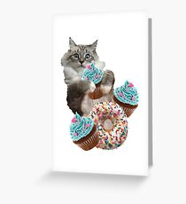 Donut Cupcake Cat Greeting Card