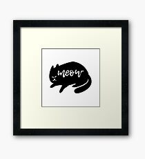 Black Cat Meow Framed Print