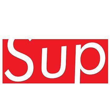Sup Supreme Parody Red Box Logo Sticker/T Shirt by AClanOfNoStans