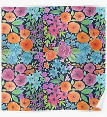 Floral watercolor pattern Poster