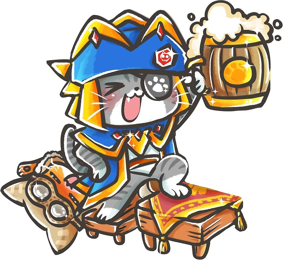 MONSTER HUNTER DRUNK CAT by YenniChau