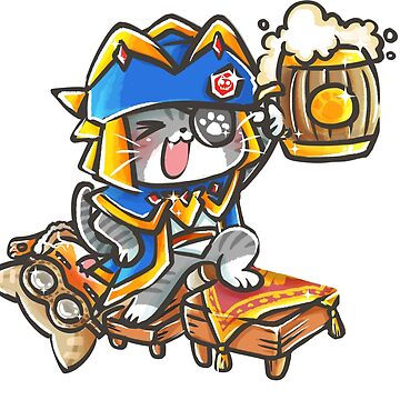MONSTER HUNTER DRUNK CAT by YenniChau