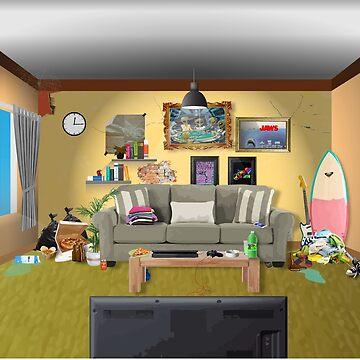 Messy living room by evaldaspx