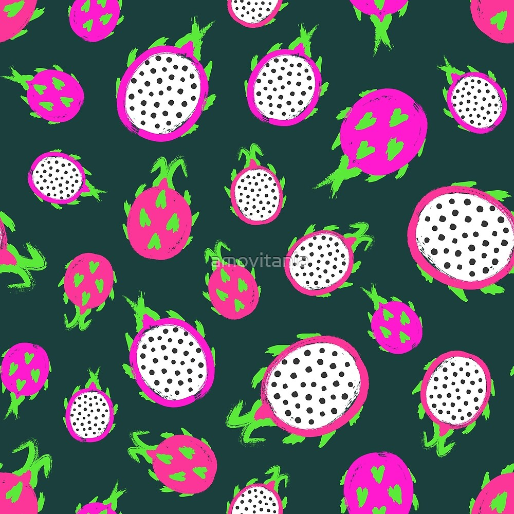 Dragon Fruit Background Painted Pattern by amovitania