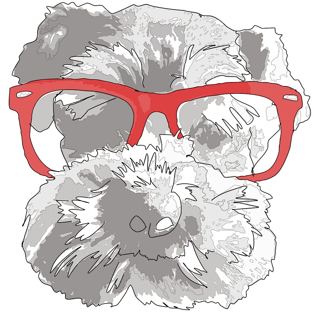 Pop Art style Schnauzer with glasses  by emmahelliwell