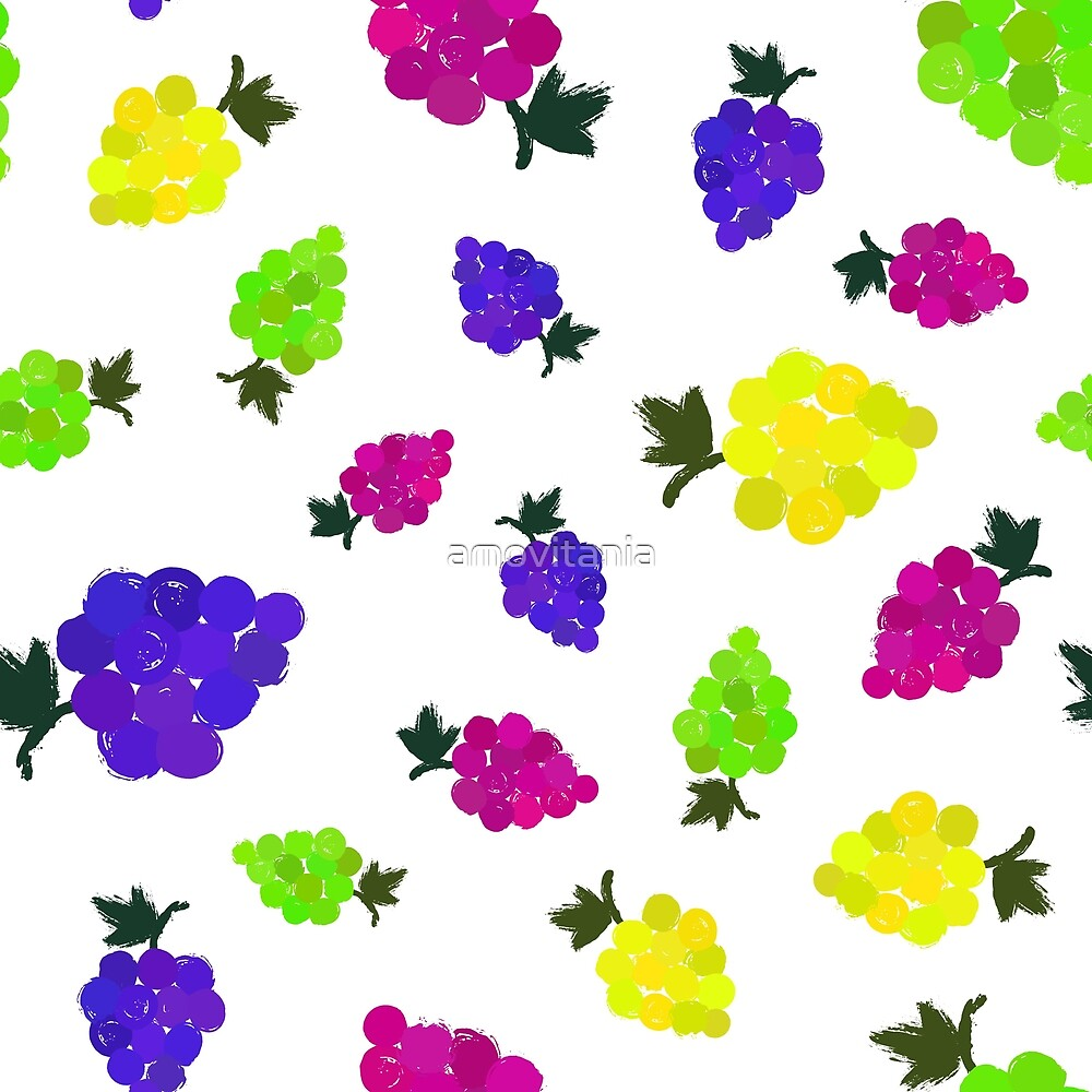 Grapes Background Painted Pattern by amovitania