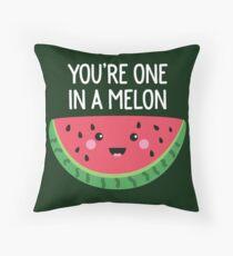 You're One In A Melon Cute Watermelon Fruit Pun Throw Pillow