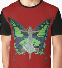 Art Nouveau Vintage Flapper With Butterfly Wings Graphic T-Shirt