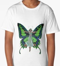 Art Nouveau Vintage Flapper With Butterfly Wings Long T-Shirt